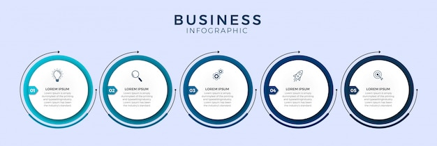 Plantilla de diseño infográfico con iconos y 5 opciones