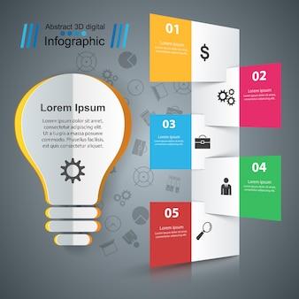 Plantilla de diseño infográfico y los iconos de marketing.