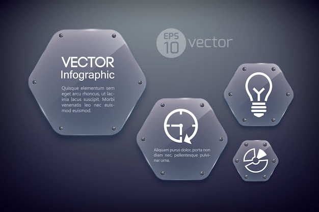 Plantilla de diseño infográfico con iconos de negocios y hexágonos brillantes de vidrio