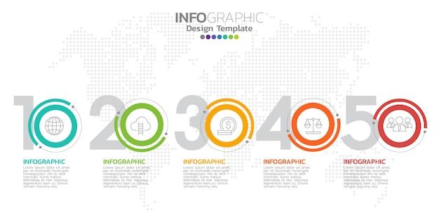 Plantilla de diseño infográfico con iconos y números.