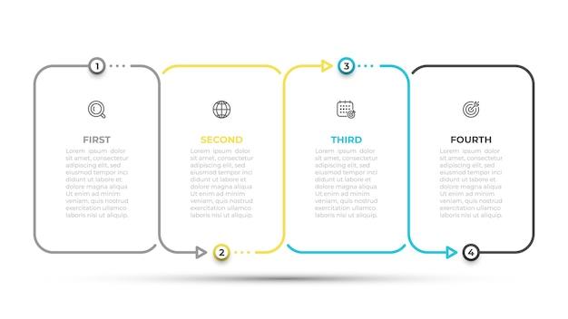 Plantilla de diseño infográfico con iconos y plantilla de línea delgada