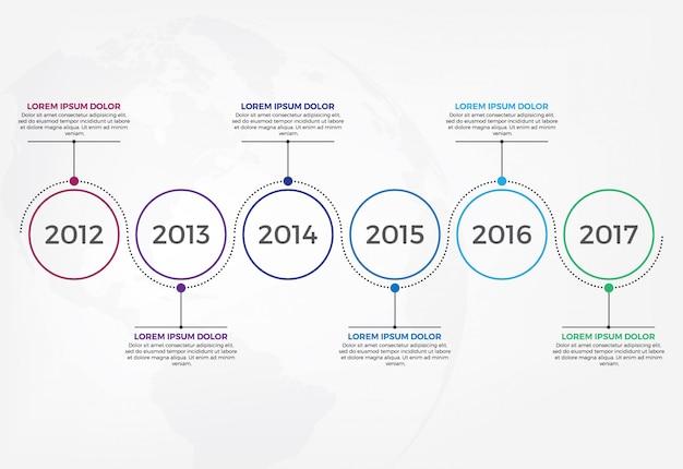 Plantilla de diseño infográfico línea de tiempo horizontal.