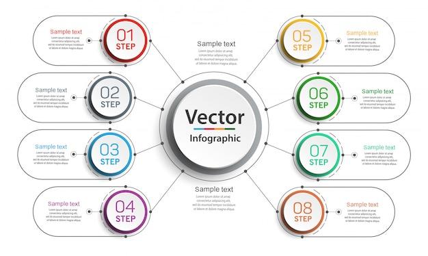 Plantilla de diseño infográfico con opciones y 8 pasos.