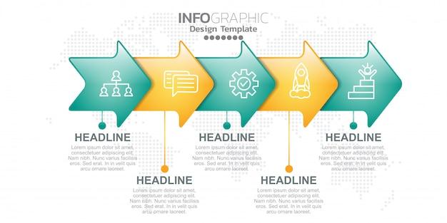 Plantilla de diseño infográfico con opciones o pasos.