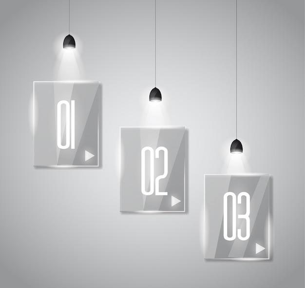 Plantilla de diseño infográfico con superficies de vidrio y focos.