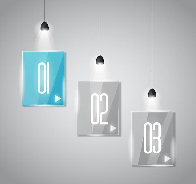 Plantilla de diseño infográfico con superficies de vidrio.
