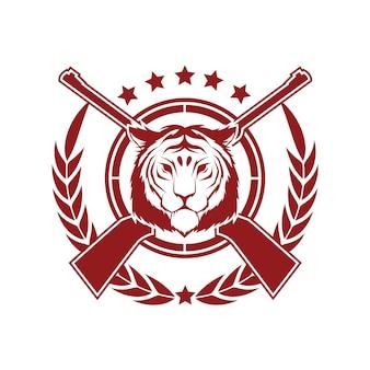Plantilla de diseño de la insignia de estilo vintage vector con tigre