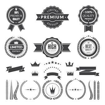 Plantilla de diseño de insignias o logos premium.