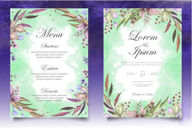 Plantilla de diseño de invitación de boda en acuarela