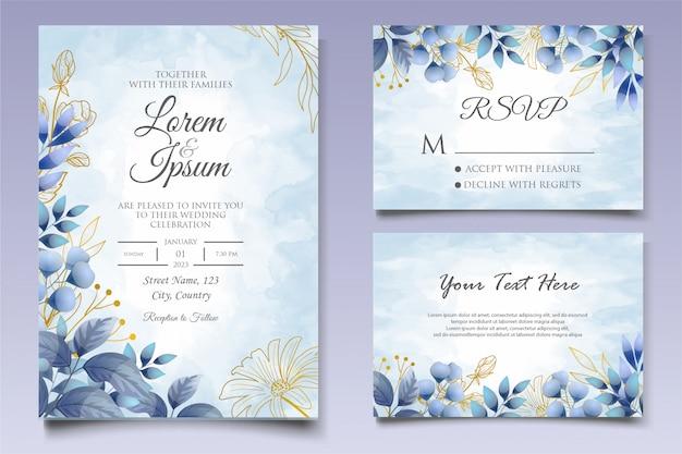 Plantilla de diseño de invitación de boda acuarela