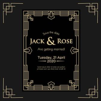 Plantilla de diseño de invitación de boda art deco