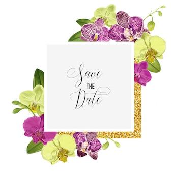 Plantilla de diseño de invitación de boda con flor de la orquídea