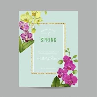 Plantilla de diseño de invitación de boda con flores de orquídeas.