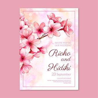 Plantilla de diseño de invitación de tarjeta de boda con diseño floral