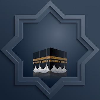 Plantilla de diseño islámico octagonal con el icono de kaaba.