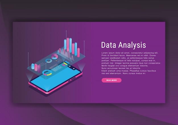 Plantilla de diseño isométrico de análisis de datos