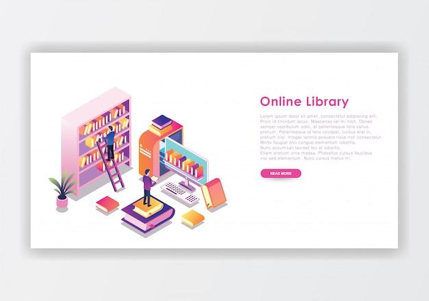 Plantilla de diseño isométrico de biblioteca en línea