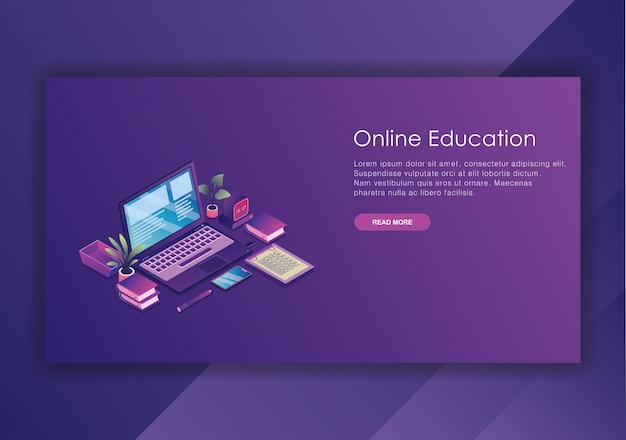 Plantilla de diseño isométrico de educación en línea