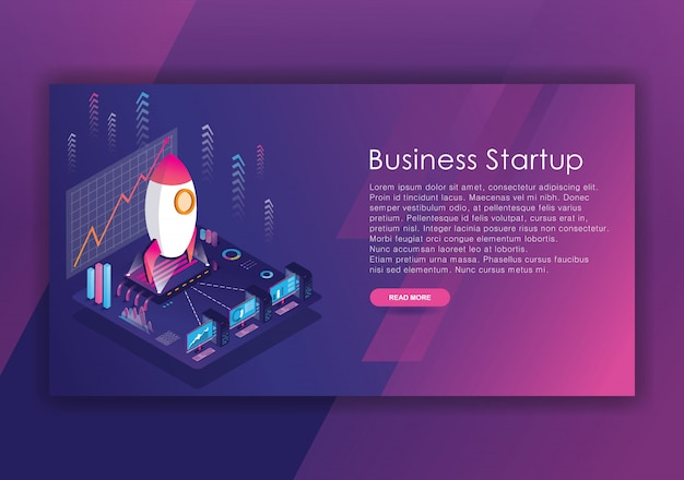Plantilla de diseño isométrico de inicio de negocios