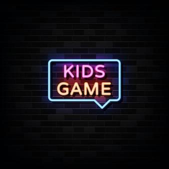 Plantilla de diseño de letreros de neón de juego para niños