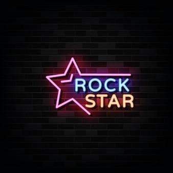 Plantilla de diseño de letreros de neón rock star