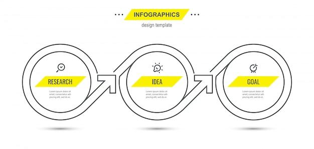 Plantilla de diseño de línea fina de infografía con iconos y 3 opciones o pasos.