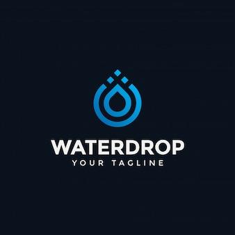 Plantilla de diseño de línea de logotipo de gota de agua moderna abstracta