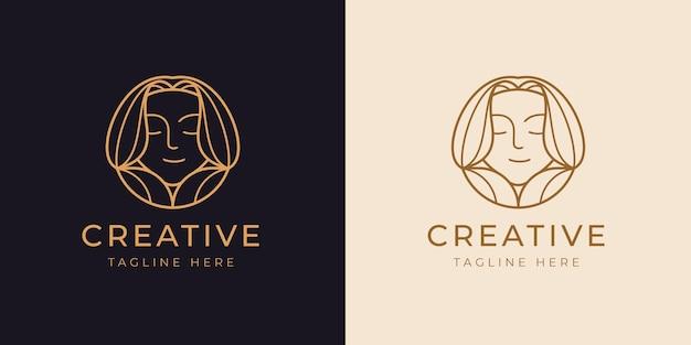 Plantilla de diseño de línea de logotipo de niña de sonrisa