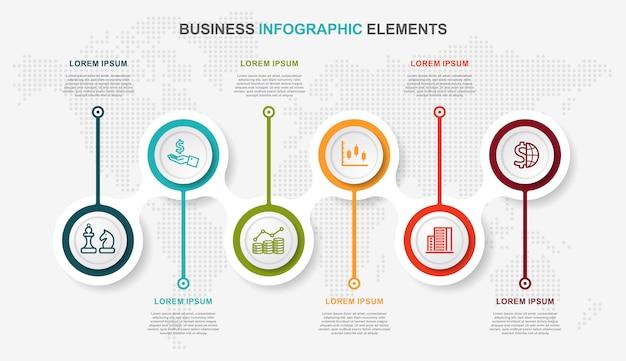 Plantilla de diseño de línea de tiempo de infografía con etiqueta de papel, círculos de fondo. diseño infográfico de la línea de tiempo e iconos de marketing.