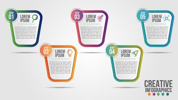 Plantilla de diseño de línea de tiempo moderna de infografía para empresas con 5 pasos u opciones