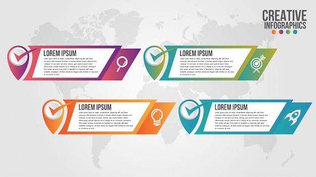 Plantilla de diseño de línea de tiempo moderna de infografía para negocios con 4 pasos u opciones