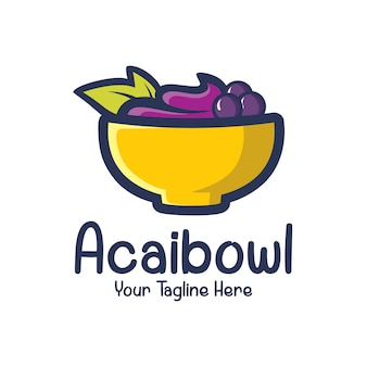 Plantilla de diseño de logo de acai en el tazón