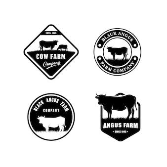 Plantilla de diseño de logo de angus negro. diseño de logotipo de granja de vacas