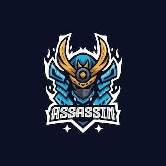 Plantilla de diseño de logo de assassin esport
