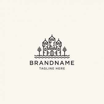 Plantilla de diseño de logo de castillo