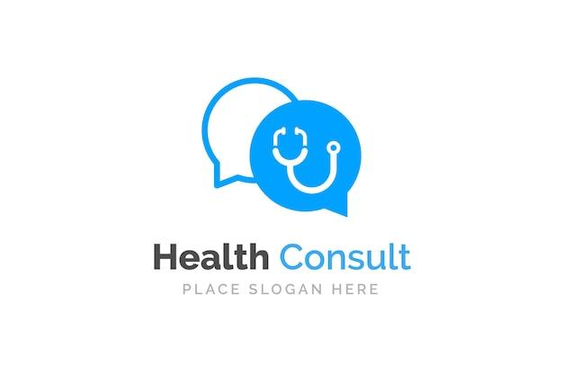 Plantilla de diseño de logo de doctor talk. estetoscopio aislado en el símbolo de chat de burbujas.