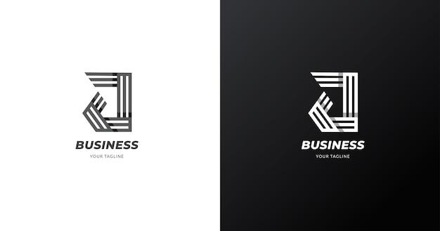 Plantilla de diseño de logo de letra inicial j, concepto de línea