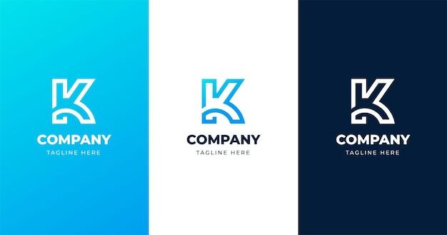 Plantilla de diseño de logo de letra inicial k, concepto de línea