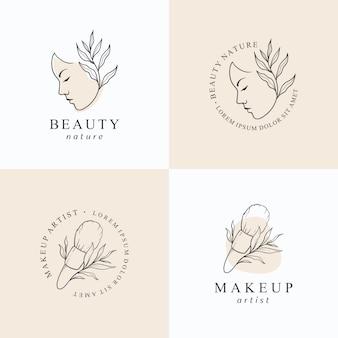 Plantilla de diseño de logo de maquillaje de belleza.