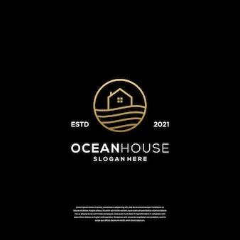 Plantilla de diseño de logo de ocean house