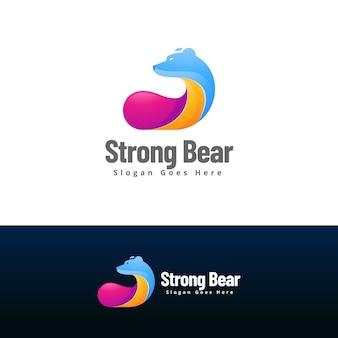 Plantilla de diseño de logo de oso fuerte