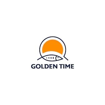 Plantilla de diseño de logo de pesca de tiempo dorado