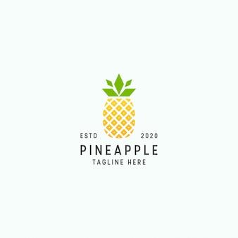 Plantilla de diseño de logo de piña tropical