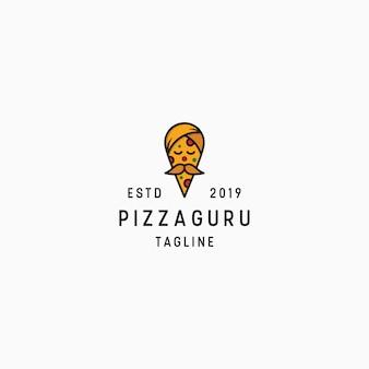 Plantilla de diseño de logo de pizza guru