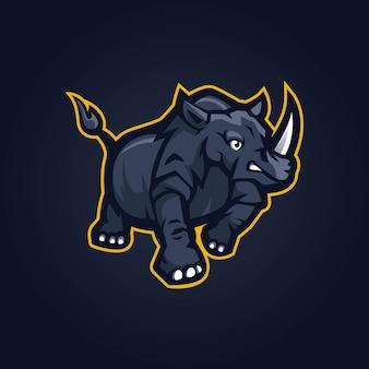 Plantilla de diseño de logo de rhino esport