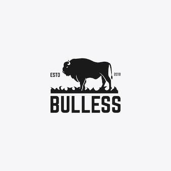 Plantilla de diseño de logo de toro fuerte