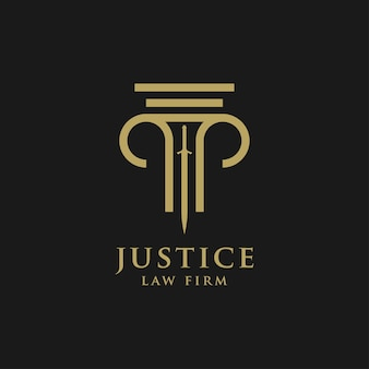 Plantilla de diseño de logotipo de abogado estilo lineal. escudo espada ley legal