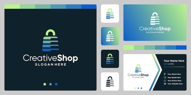 Plantilla de diseño de logotipo abstracto de bolsa de compras y plantilla de diseño de tarjeta de visita. vector premium