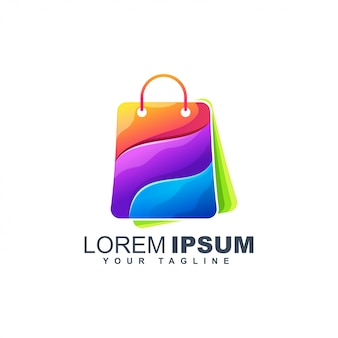 Plantilla de diseño de logotipo abstracto colorido bolso de compras