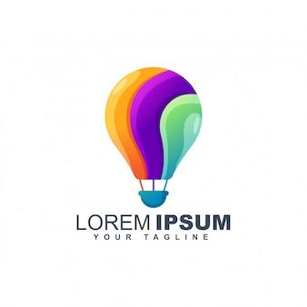 Plantilla de diseño de logotipo abstracto colorido globo aerostático